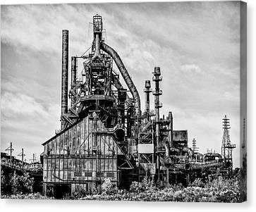 Bethlehem Pa Steel Plant  Side View In Black And White Canvas Print by Bill Cannon