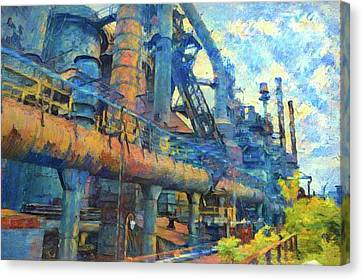 Bethlehem Steel Mill Watercolor Canvas Print by Bill Cannon