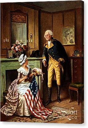 Betsy Ross And George Washington Canvas Print by Science Source