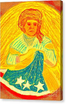 Canvas Print featuring the painting Betsy Ross Flag Myth Or Reality by Richard W Linford