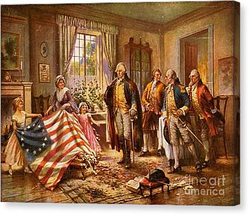 Betsy Ross Showing Flag To George Washington. Canvas Print by Pg Reproductions