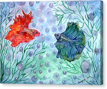 Canvas Print featuring the painting Betta Magic by Saranya Haridasan