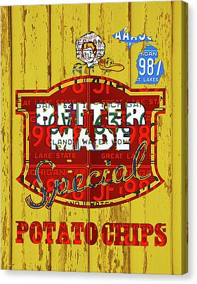 Chip Canvas Print - Better Made Potato Chips Michigan License Plate Art by Design Turnpike