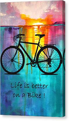 Abstract On Canvas Print - Better On A Bike by Nancy Merkle