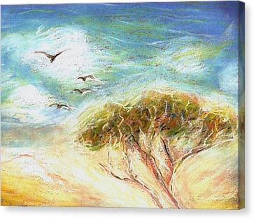 Canvas Print featuring the drawing Betty's Tree by Denise Fulmer