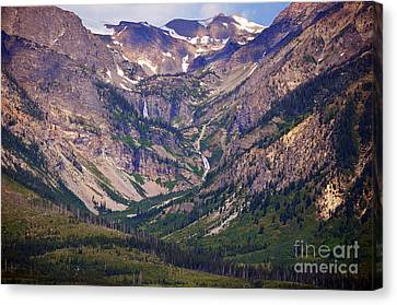 Between Eagles Nest And Rangers Peaks Glacial Waterfall And Cascade Scenic Grand Teton National Park Canvas Print by Shawn O'Brien