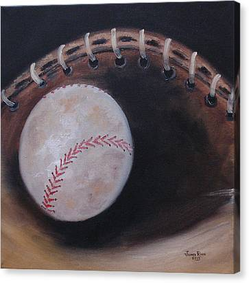 Canvas Print featuring the painting Between Innings by Judith Rhue