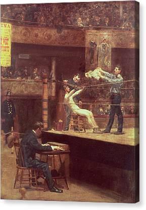 Between Rounds Canvas Print by Thomas Cowperthwait Eakins