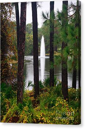Canvas Print featuring the photograph Between The Fountain by Lori Mellen-Pagliaro