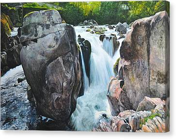 Canvas Print featuring the painting Betws-y-coed Waterfall In North Wales by Harry Robertson