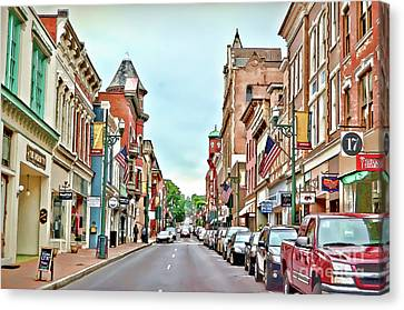 Canvas Print featuring the photograph Beverley Historic District - Staunton Virginia - Art Of The Small Town by Kerri Farley