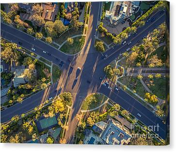Beverly Hills Streets, Aerial View Canvas Print