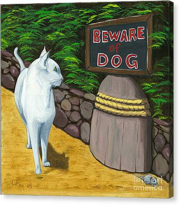Canvas Print featuring the painting Beware Of Dog by Gail Finn