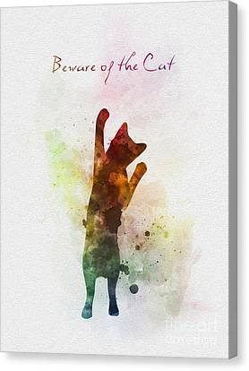 House Pet Canvas Print - Beware Of The Cat by Rebecca Jenkins
