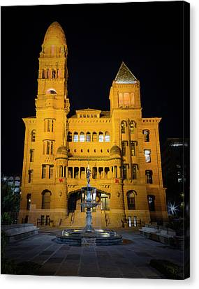 Bexar County Courthouse Illumination Canvas Print by Stephen Stookey