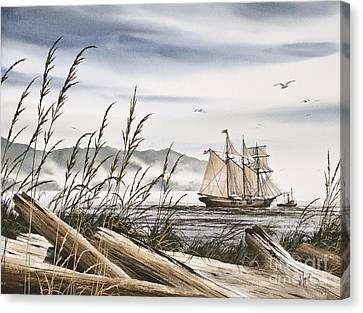 Tall Ship Image Canvas Print - Beyond Driftwood Shores by James Williamson