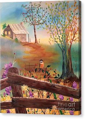 Canvas Print featuring the painting Beyond The Gate by Denise Tomasura