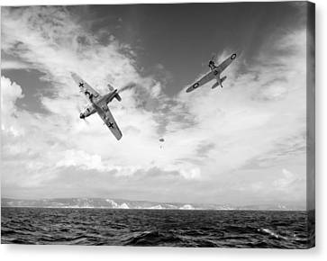 Bf109 Down In The Channel Bw Version Canvas Print by Gary Eason