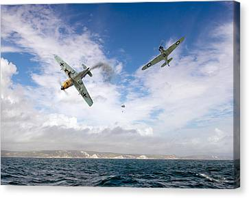 Bf109 Down In The Channel Canvas Print by Gary Eason