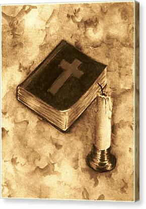 Bible And Candle Canvas Print by Michael Vigliotti