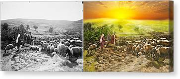 Bible - Psalm 23 - My Cup Runneth Over 1920 - Side By Side Canvas Print