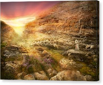 Bible - Psalm 23 - Yea, Though I Walk Through The Valley 1920 Canvas Print