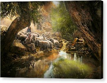 Bible - The Lord Is My Shepherd - 1910 Canvas Print