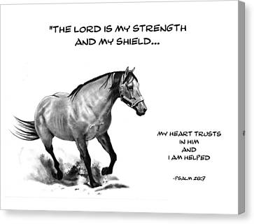 Bible Verse With Drawing Of Horse Canvas Print by Joyce Geleynse