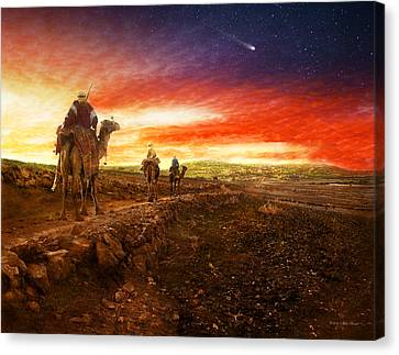 Bible - Wise Men - The Magi Arrive 1920 Canvas Print by Mike Savad