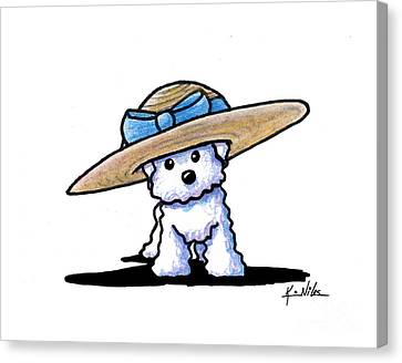 Bichon In Hat Canvas Print