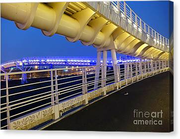 Canvas Print featuring the photograph Bicycle And Pedestrian Overpass by Yali Shi