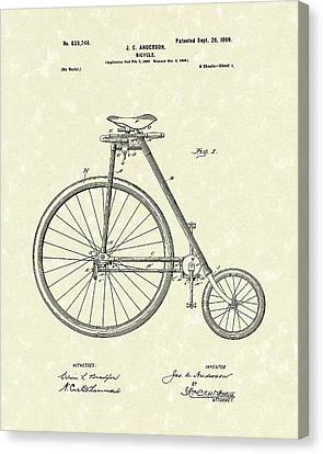 Bicycle Anderson 1899 Patent Art Canvas Print by Prior Art Design