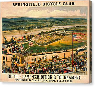 Canvas Print featuring the photograph Bicycle Camp 1883 by Padre Art