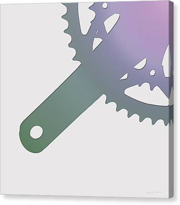 Bicycle Chain Ring On Champagne Glass - 3 Of 4 Canvas Print by Serge Averbukh