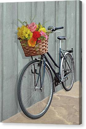 Bicycle With Flowers Canvas Print - Bicycle Flower Basket by Gill Billington