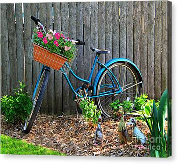 Bicycle Garden Canvas Print by Perry Webster