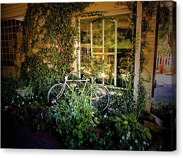 Bicycle In Bloom Canvas Print by Rosemary McGahey