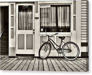 Panel Door Canvas Print - Bicycle In Skagway Sepia Tone by Mel Steinhauer