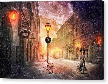 Bicycle In The Snow Canvas Print by Debra and Dave Vanderlaan