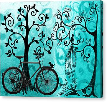 Bicycle In Whimsical Forest Canvas Print by Irina Sztukowski