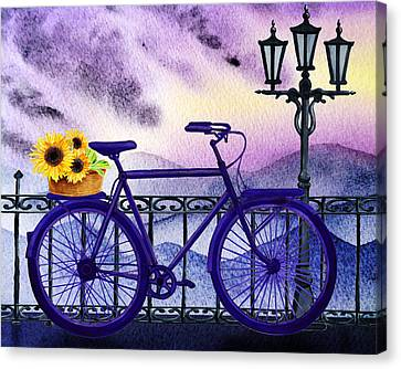 Bicycle With Flowers Canvas Print - Blue Bicycle And Sunflowers By Irina Sztukowski  by Irina Sztukowski