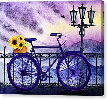 Canvas Print featuring the painting Blue Bicycle And Sunflowers By Irina Sztukowski  by Irina Sztukowski