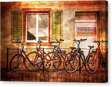Bicycle Line-up Canvas Print by Debra and Dave Vanderlaan