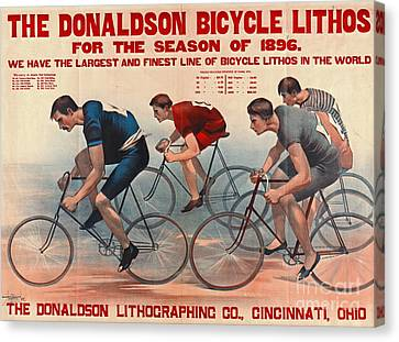 Canvas Print featuring the photograph Bicycle Lithos Ad 1896 by Padre Art