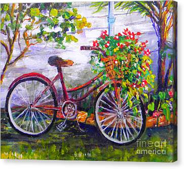 Bicycle With Flowers Canvas Print - Bicycle by Lou Ann Bagnall