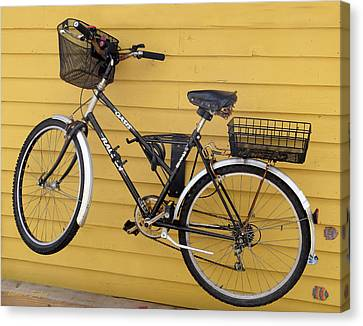 Two Wheeler Canvas Print - Bicycle On A Float House Victoria British Columbia by Barbara Snyder