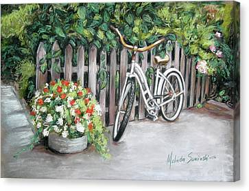 Canvas Print featuring the painting Bicycle On Fence by Melinda Saminski