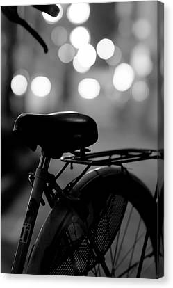 Bicycle On Street At Night In Osaka Japan Canvas Print by Freedom Photography