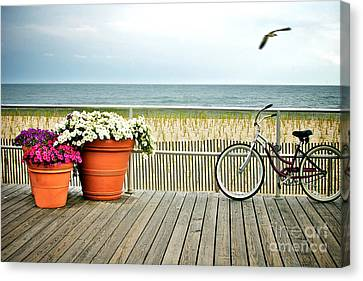Seagull Canvas Print - Bicycle On The Ocean City New Jersey Boardwalk. by Melissa Ross