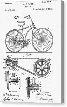 1890 Canvas Print - Bicycle Patent 1890 by Bill Cannon